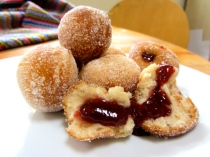 jam and custard donut